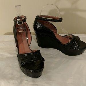 Derek Lam black snakeskin wedge sandals 37.5 NEW